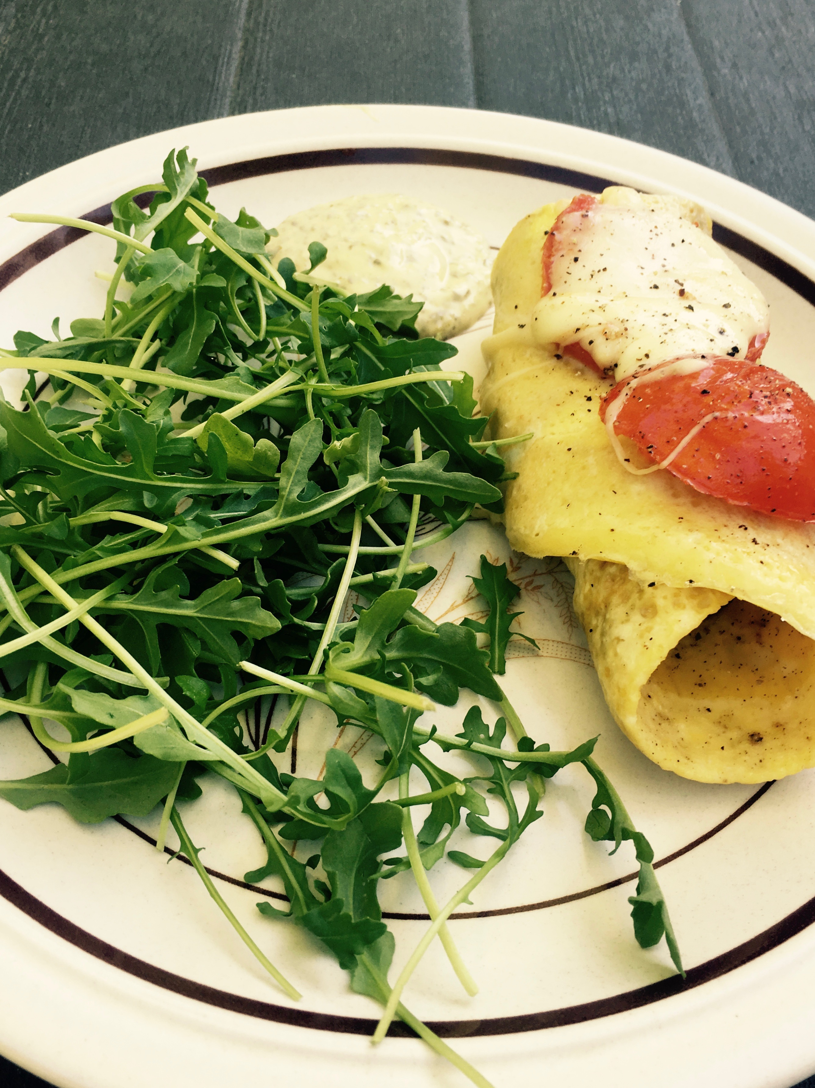 recipe of the week - omelette roulade with pesto mayo